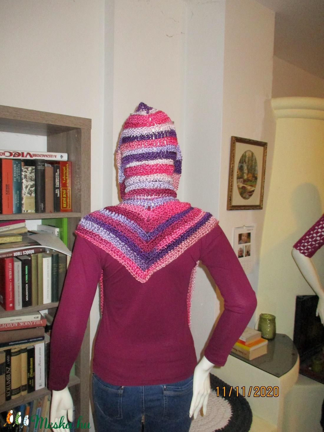 Horgolt manó sál kapucnival és kesztyűvel lila-pink - ruha & divat - sál, sapka, kendő - sapka & sál szett - Meska.hu