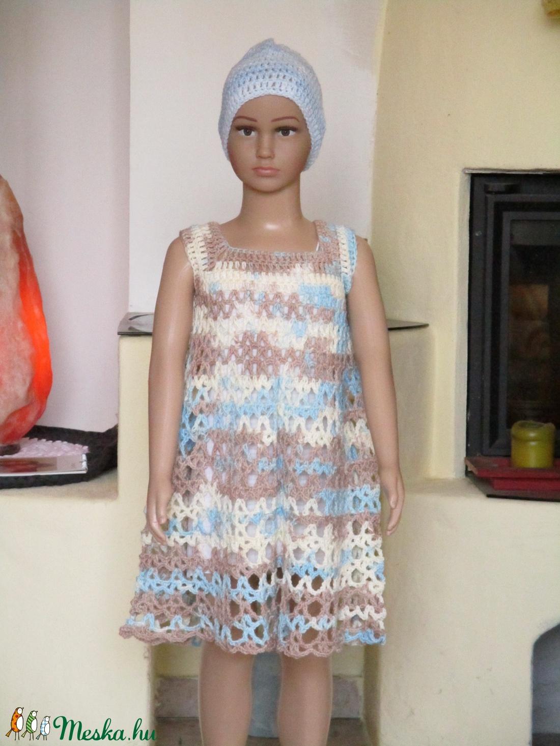 Kék-drapp horgolt kislány ruha - ruha & divat - babaruha & gyerekruha - ruha - Meska.hu