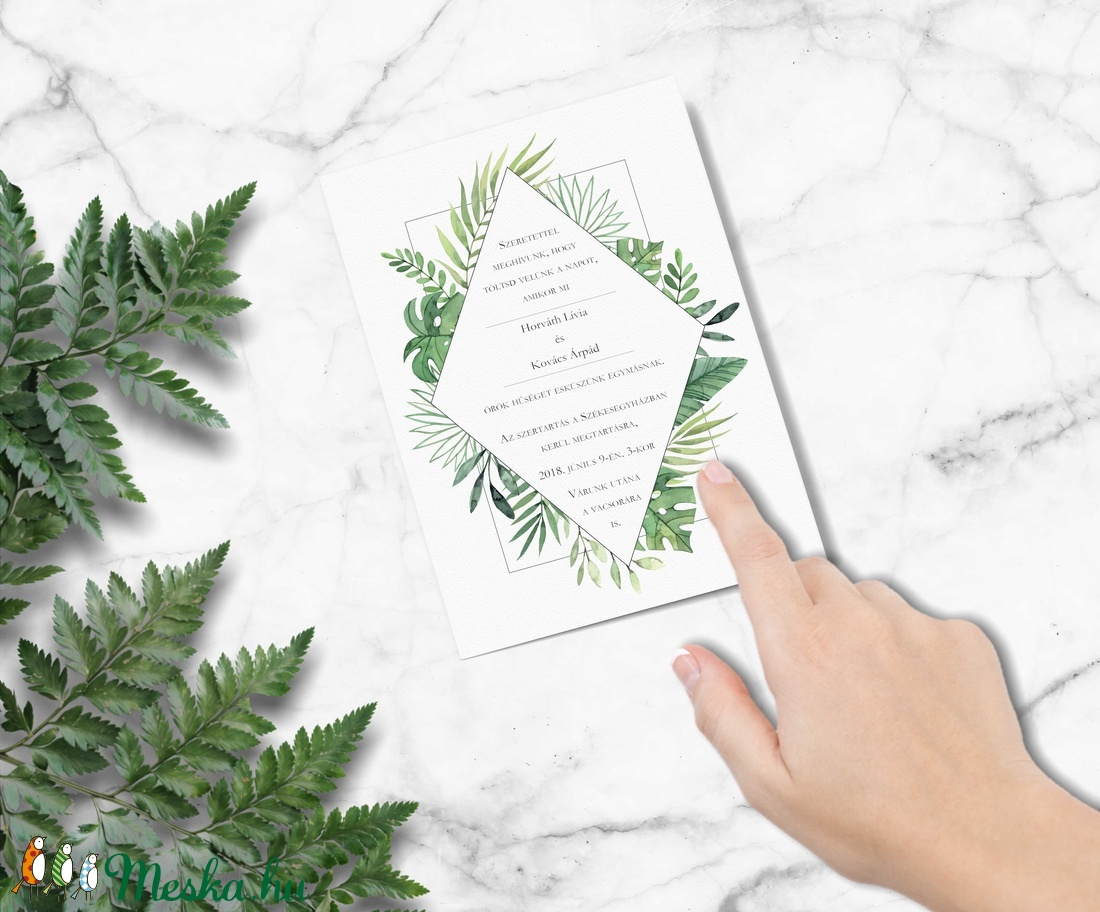 Geometrikus greenery esküvői meghívó, zöld meghívó, esküvői meghívó, kalligráfia, 2018, modern, trópusi, leveles (bonniesweddingart) - Meska.hu