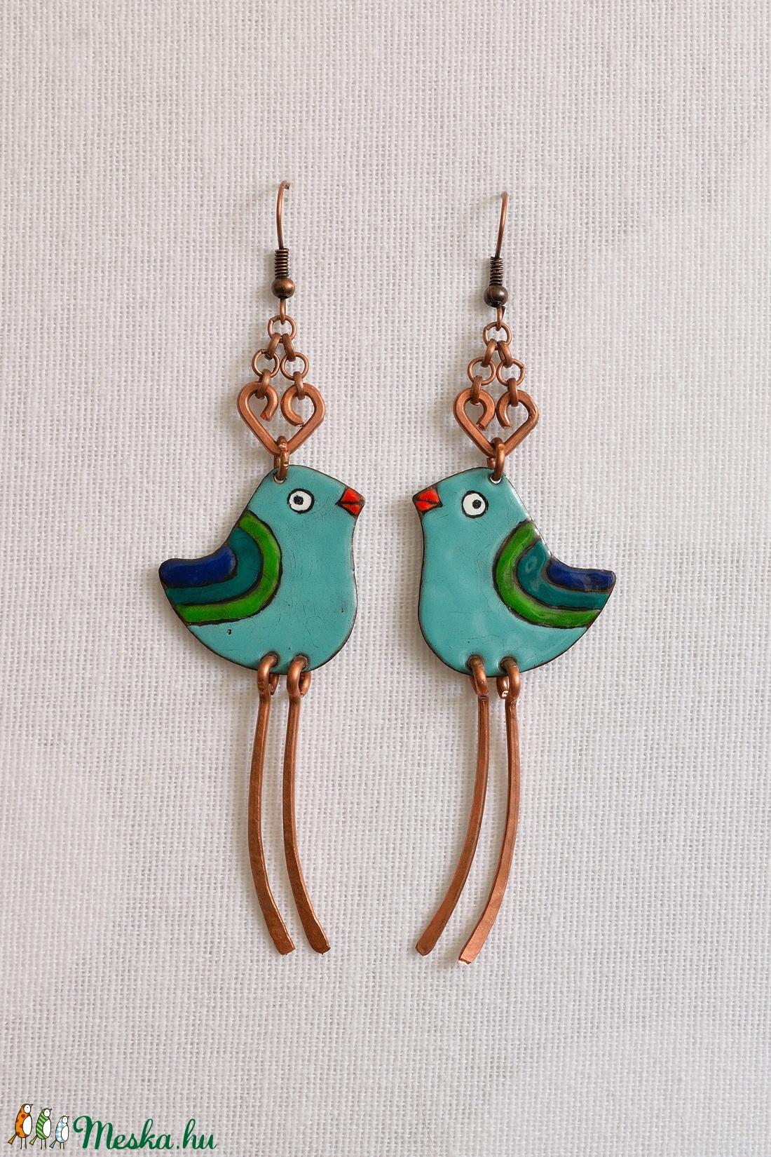 Kék madár, madár fülbevaló, madaras fülbevaló, bordó madaras fülbevaló (Neki) - Meska.hu