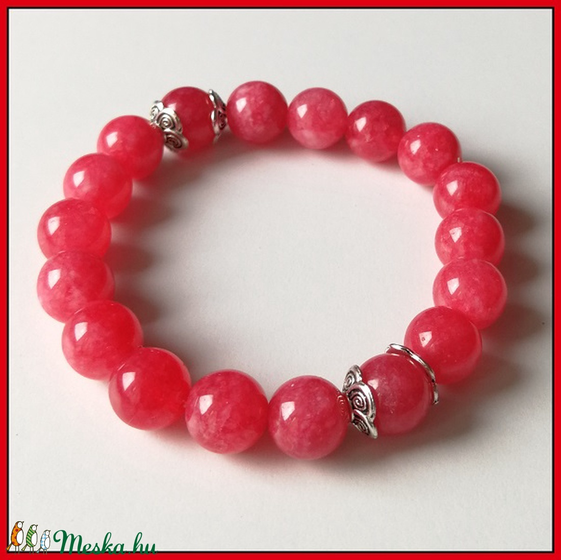 Piros jáde ásványi karkötő, 1 cm-es, gömb alakú magas minőségű természetes féldrágakövekből (Nerika81) - Meska.hu
