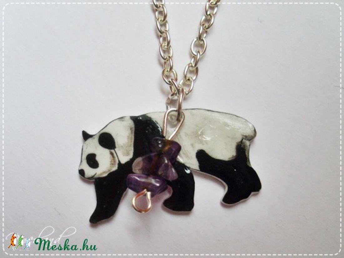 AKCIÓS! Panda ametiszttel - rajzolt nyaklánc (Neverland) - Meska.hu