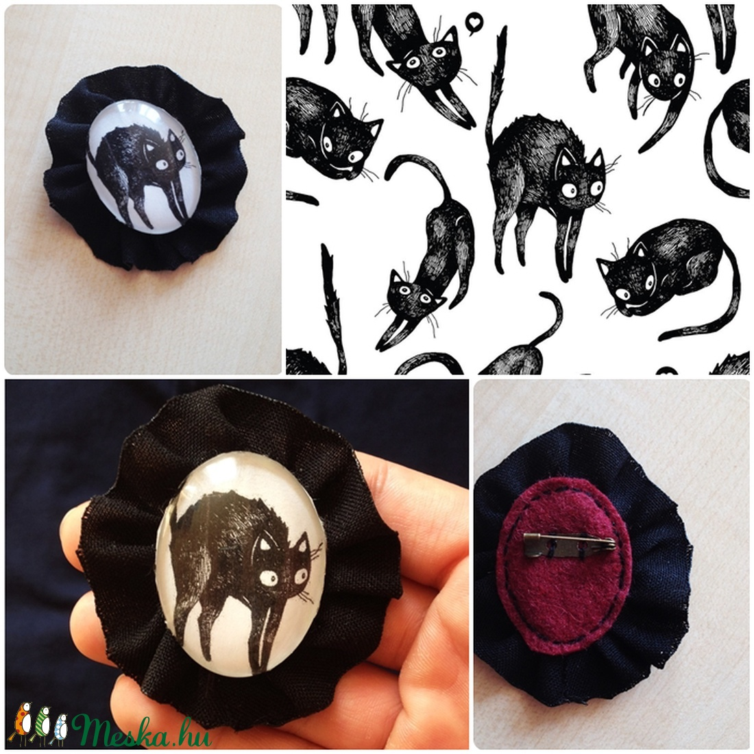 Fekete cica bross (Neverland) - Meska.hu