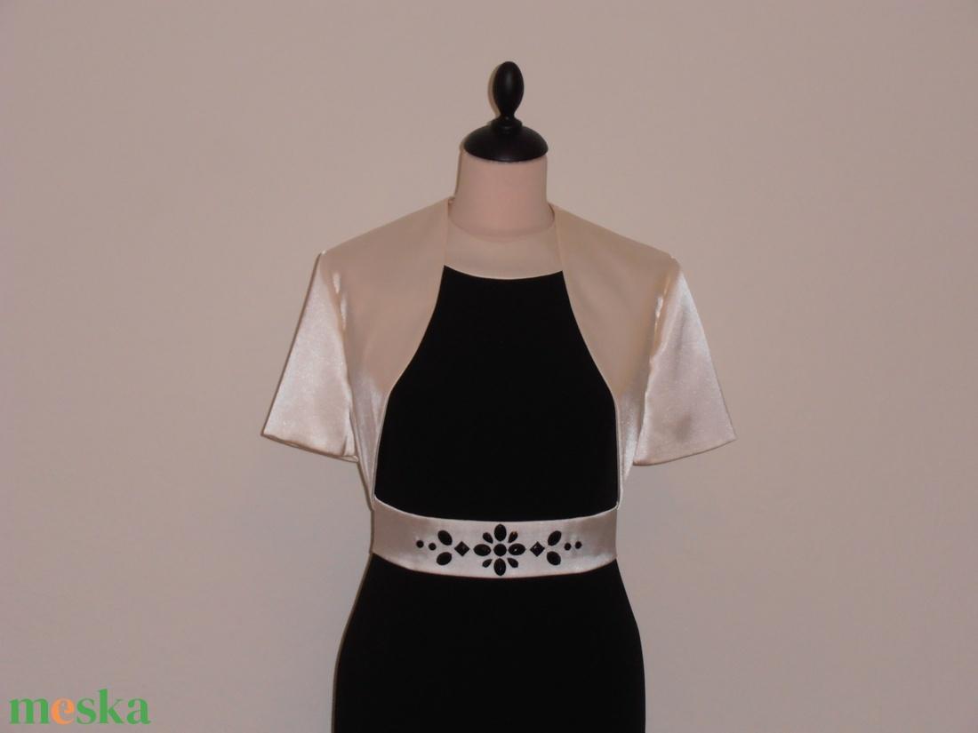 Ekrű-fekete alkalmi ruha boleróval (nicoledesign) - Meska.hu ... d687e28f96
