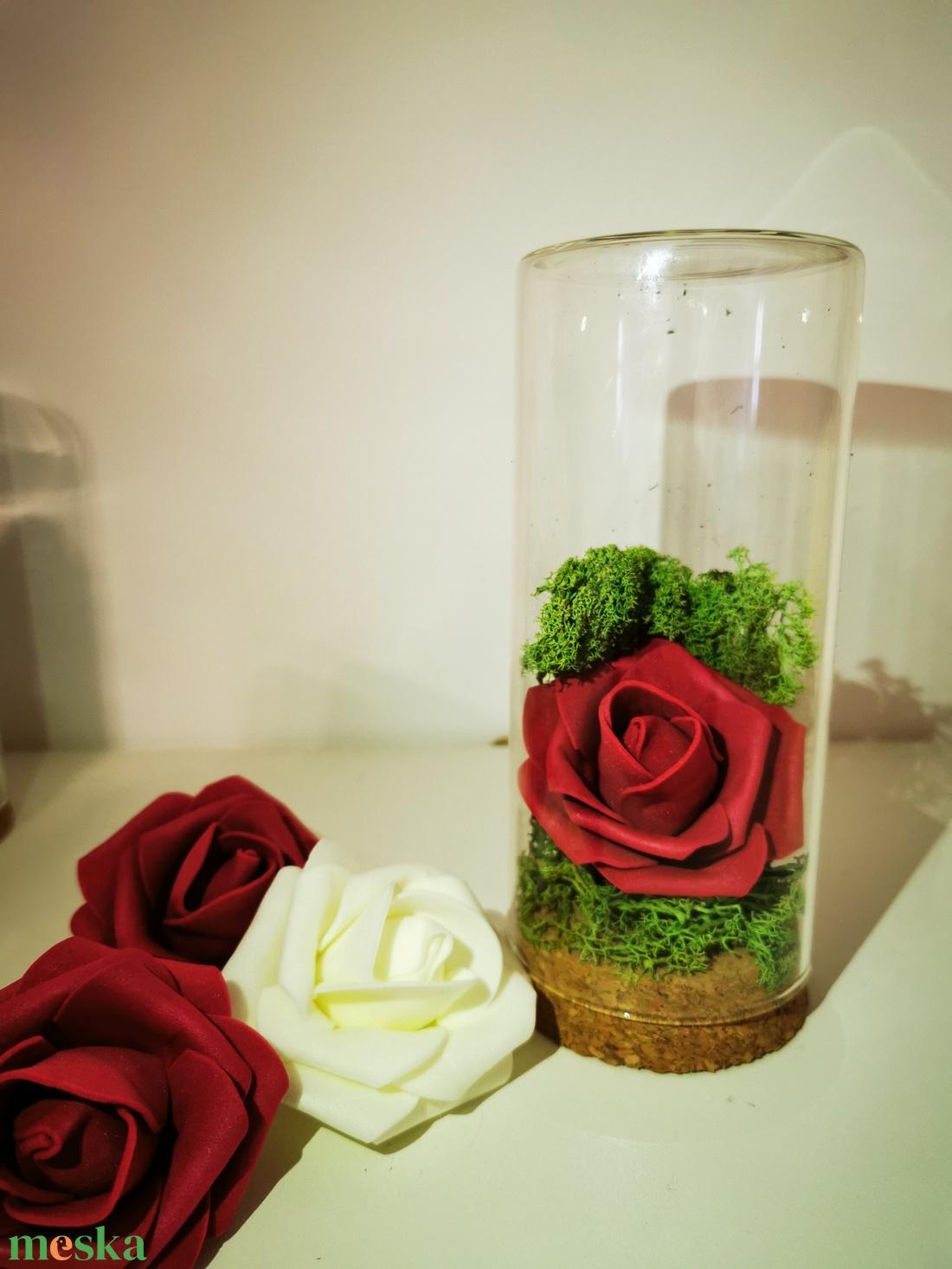 Örökrózsa üvegburában - otthon & lakás - dekoráció - csokor & virágdísz - Meska.hu