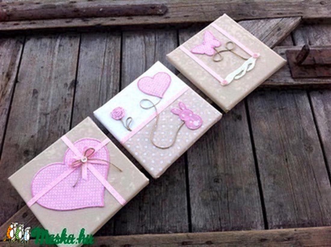 Rózsaszín-beige falikép kollekció babaszobába, gyerekszobába (NoaNoa) - Meska.hu