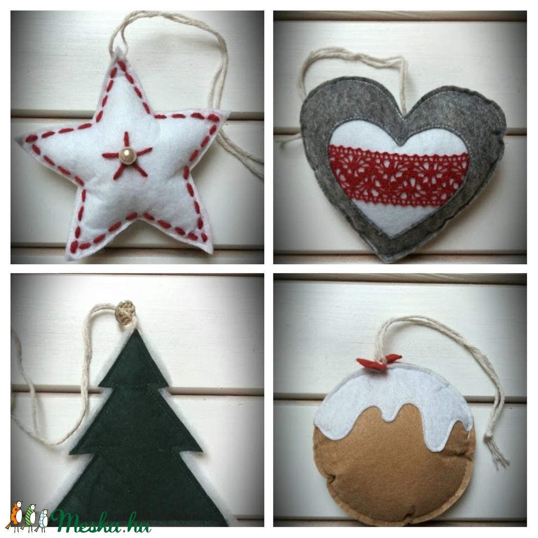 Filc csillag,szív,fenyőfa,süti karácsonyi díszek szettben (Noemi8501) - Meska.hu