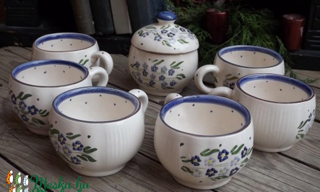 Kék nefelejcs nosztalgia pocakos 6 személyes kávés - otthon & lakás - konyhafelszerelés - bögre & csésze - Meska.hu