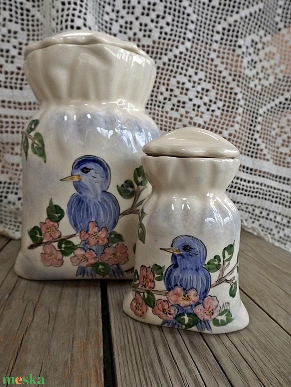 Boldogság kék madara  kerámia zsák fűszertartó - otthon & lakás - konyhafelszerelés - fűszertartó - Meska.hu