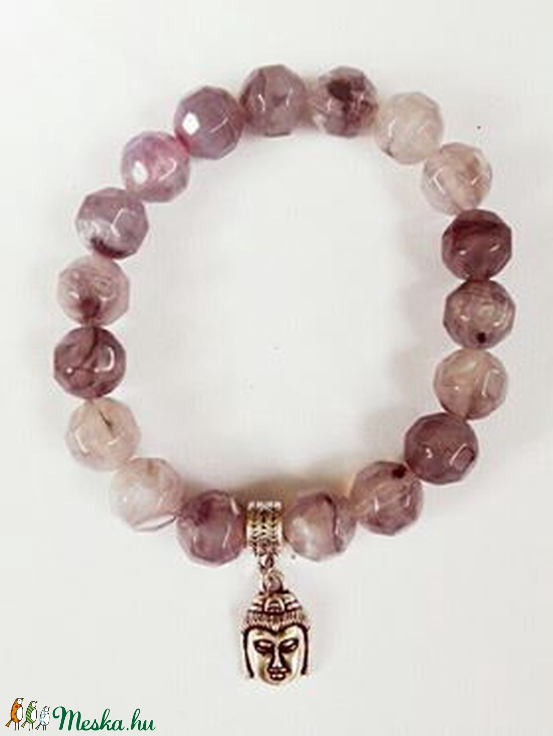 Csukló mala, füstkvarcutánzat (10 mm) gyöngyökkel, ezüstszínű buddha kezdőszemmel, 16 cm, gumis. (oldjeansgarboo) - Meska.hu