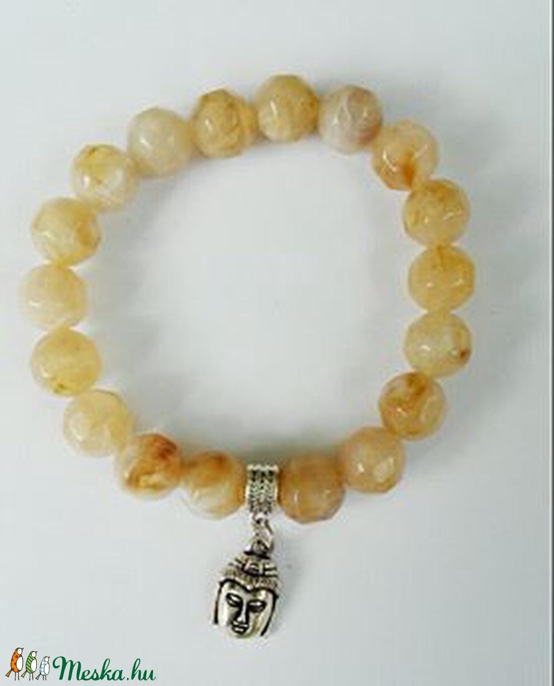 Csukló mala, szintetikus citrin (10 mm) gyöngyökkel, ezüstszínű buddhafej kezdő szemmel, 17 cm, gumis. (oldjeansgarboo) - Meska.hu