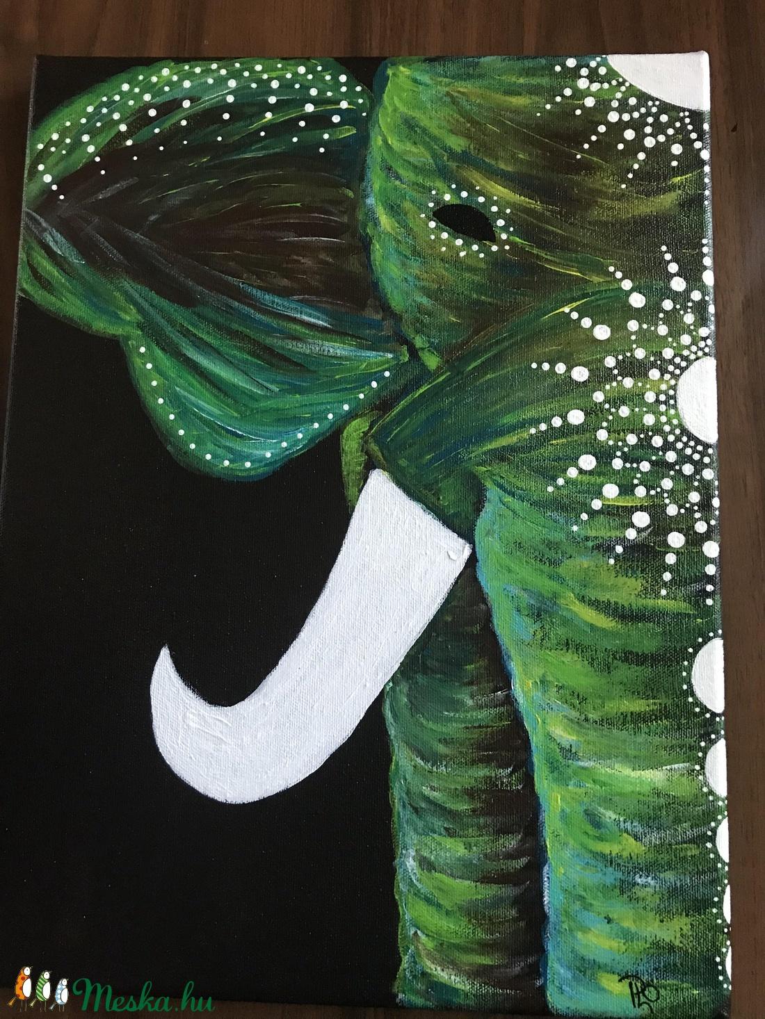 Zöld elefánt (Orsolyda) - Meska.hu