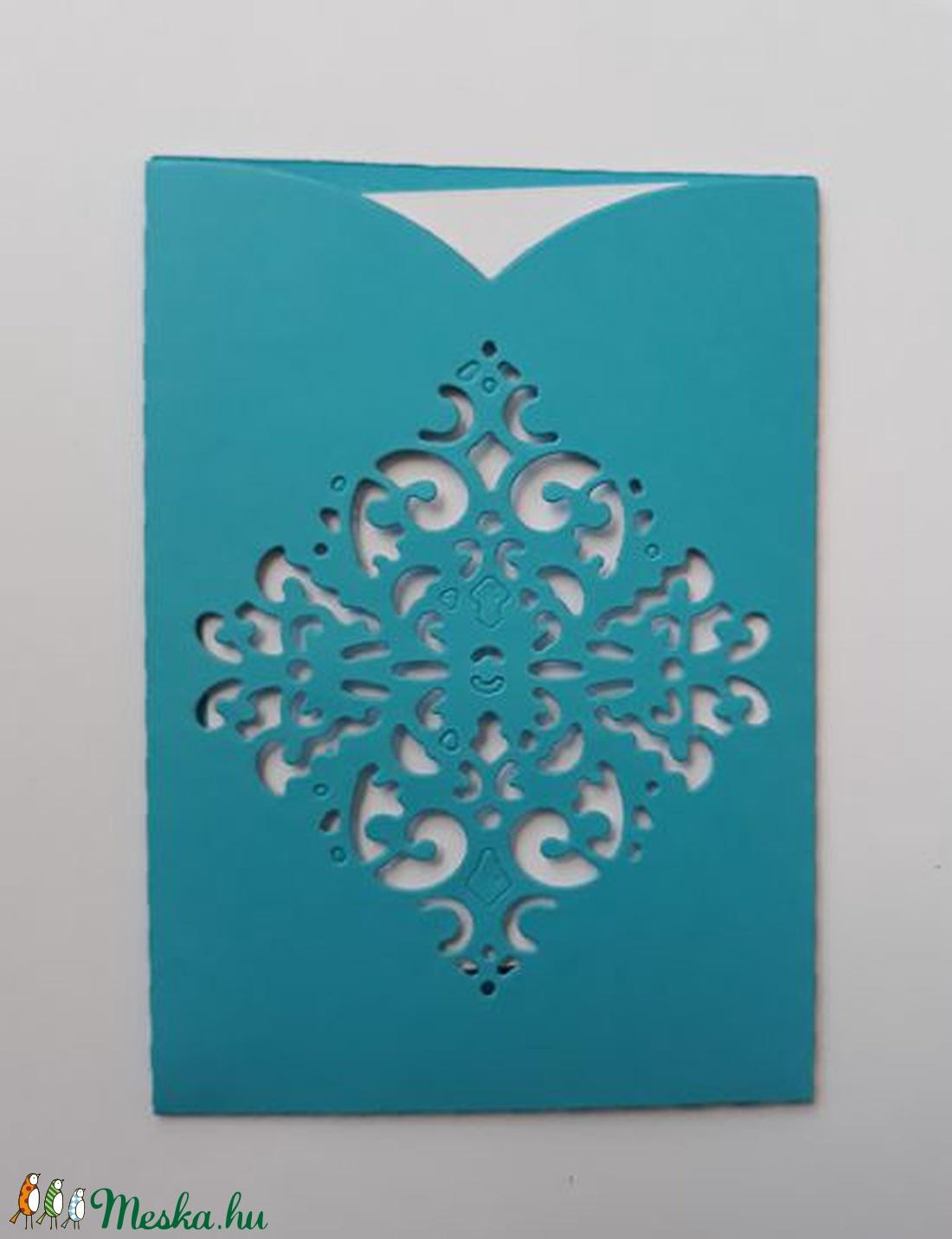 Kicsi csipkemintás, diszes ÉLÉNK KÉK boriték fehér üdvözlőkártyával,  PD 4 Scr 3c (OshiArt) - Meska.hu