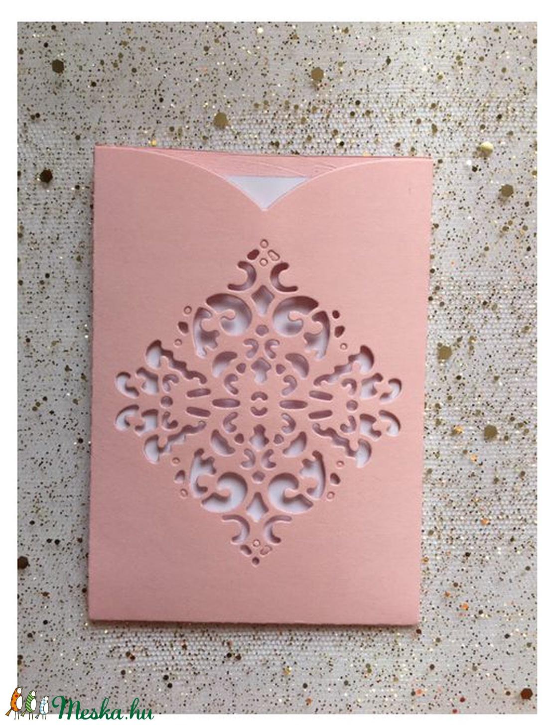 Kicsi csipkemintás, diszes  RÓZSASZIN boriték fehér üdvözlőkártyával,  PD 4 Scr 9b (OshiArt) - Meska.hu