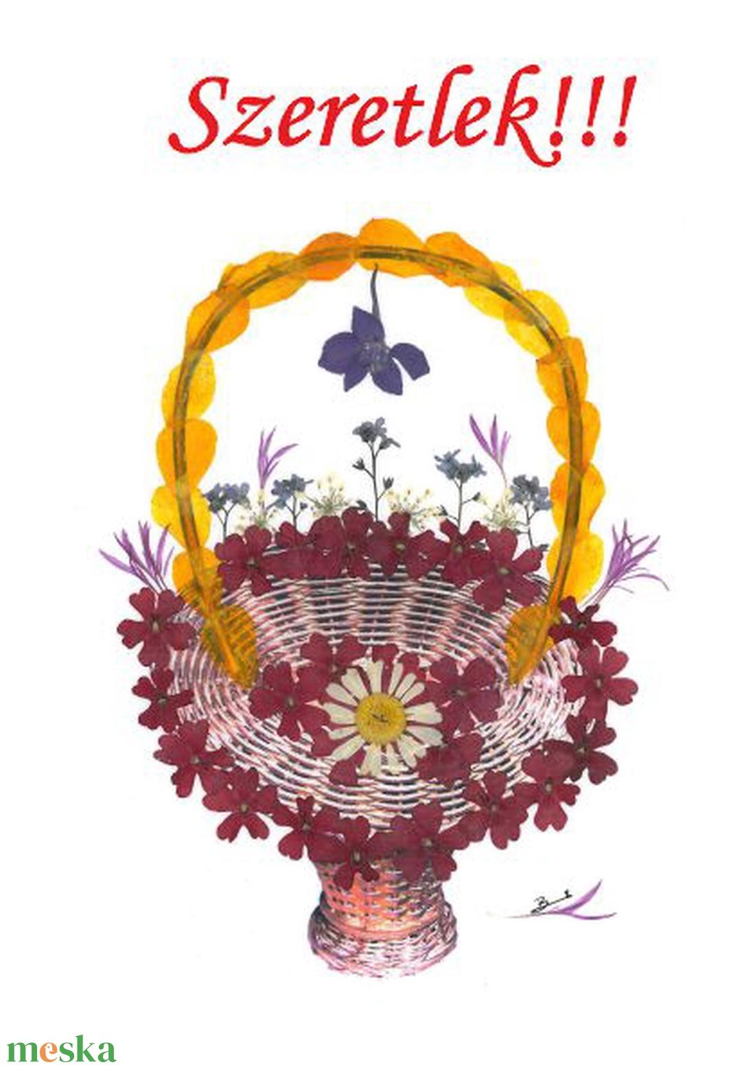 10 db Üdvözlőlap Szeretlek felirattal, préselt virág nyomat, szülinapi jókivánság, ajándék,  - Meska.hu
