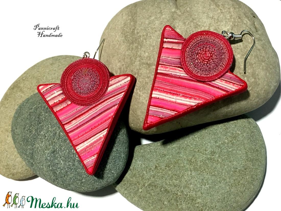 Pink háromszög fülbevaló (PannicraftHandmade) - Meska.hu