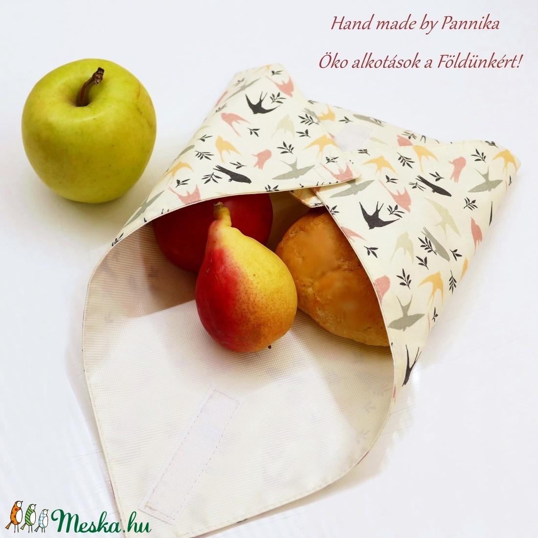 Újraszalvéta1800Ft helyett!!Öko szendvics-csomagolás (Madaras vízálló textilszalvéta) - ovi- és sulikezdés - uzsonna- & ebéd tartó - szendvics csomagoló - Meska.hu