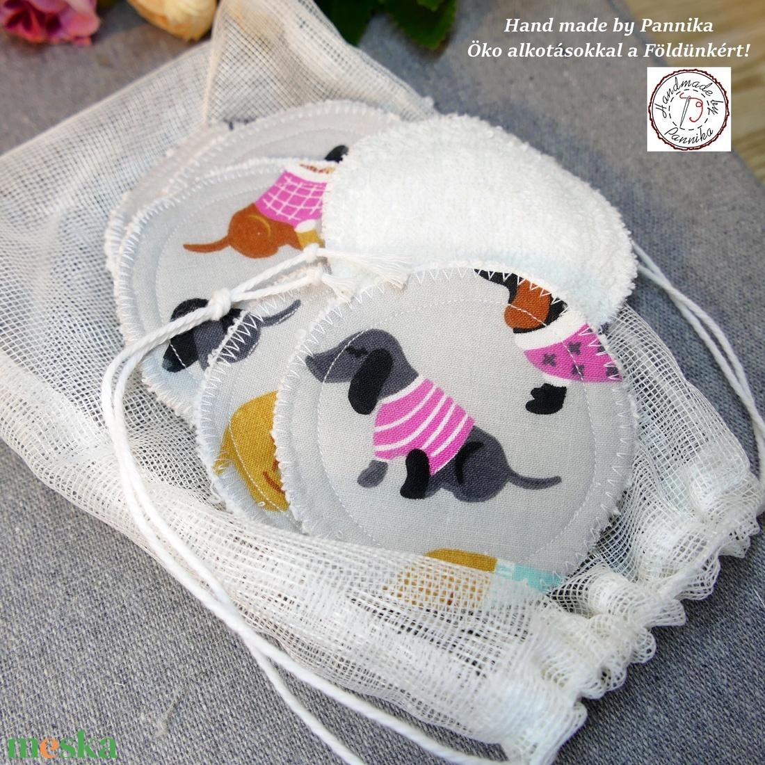 Sminklemosó öko korongok, tüll mosózsákkal, tárolőval (tacskós) - szépségápolás - arcápolás - arctisztító korong - Meska.hu
