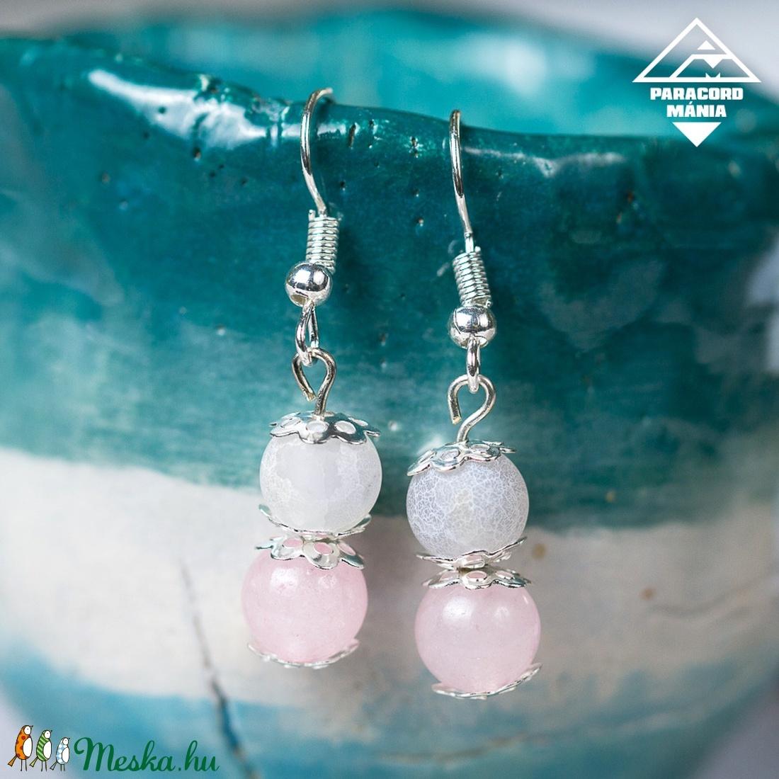 - Pegazus - ásvány fülbevaló rózsaszín-fehér (paracordmania) - Meska.hu
