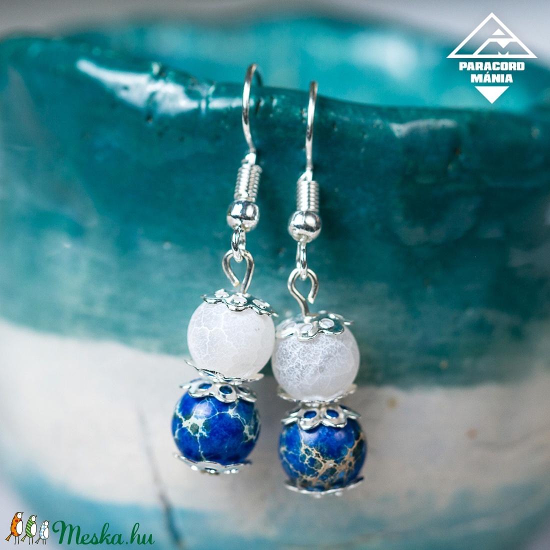 - Pegazus - ásvány fülbevaló kék-fehér (paracordmania) - Meska.hu