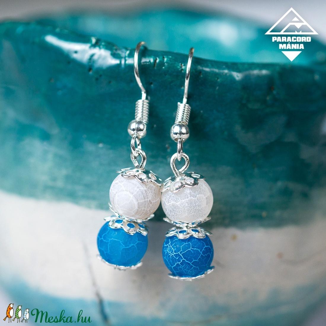 - Pegazus - ásvány fülbevaló kék achát (paracordmania) - Meska.hu