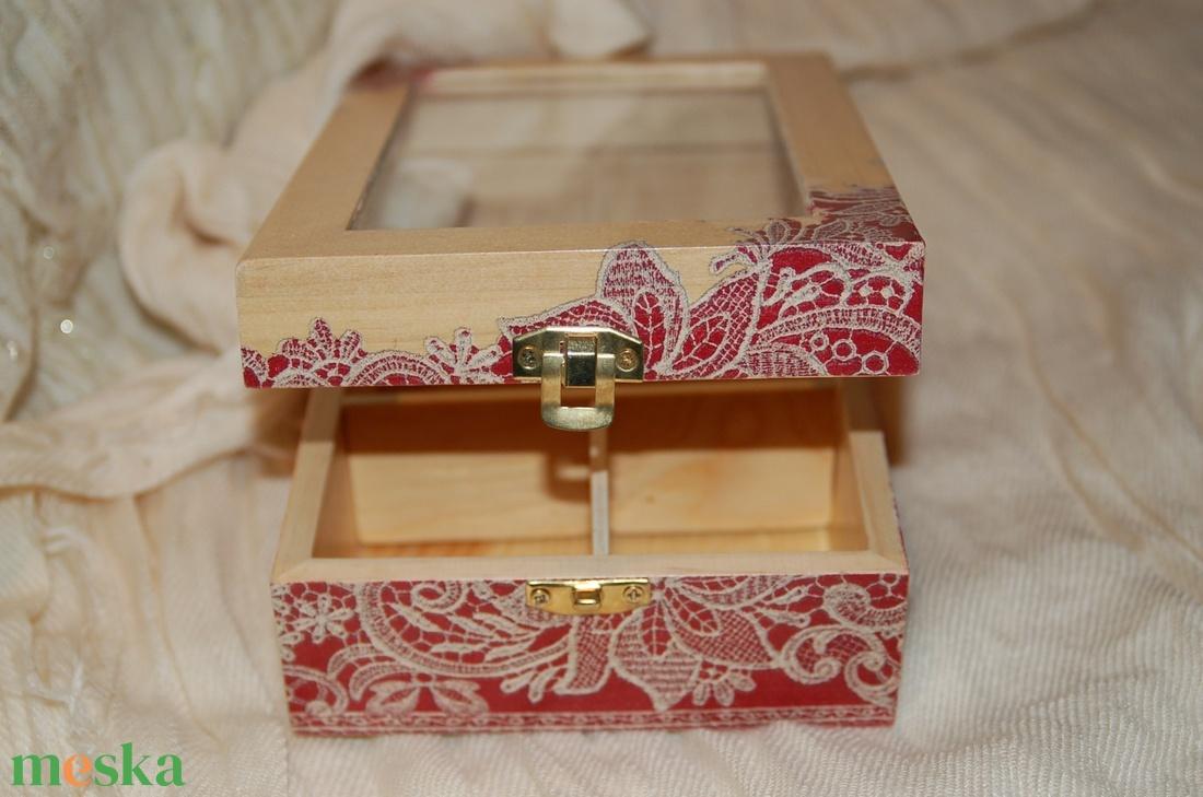 Teás doboz romantikus csipke mintával - otthon & lakás - tárolás & rendszerezés - doboz - Meska.hu
