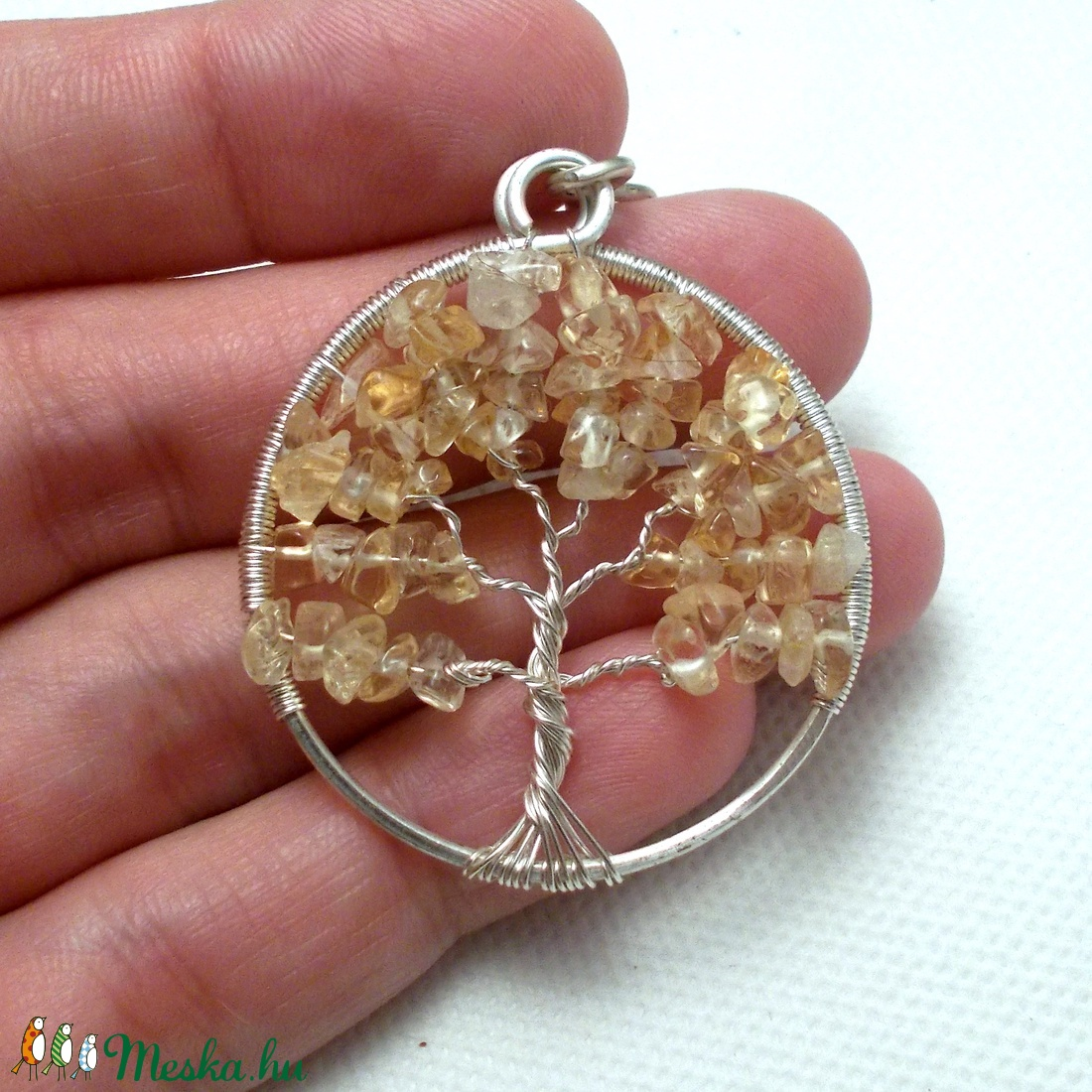 576ad400f Citrin életfa medál, sárga életfa medál, ásvány életfa medál, ezüstözött  életfa medál (PerAnnaEkszer) - Meska.hu
