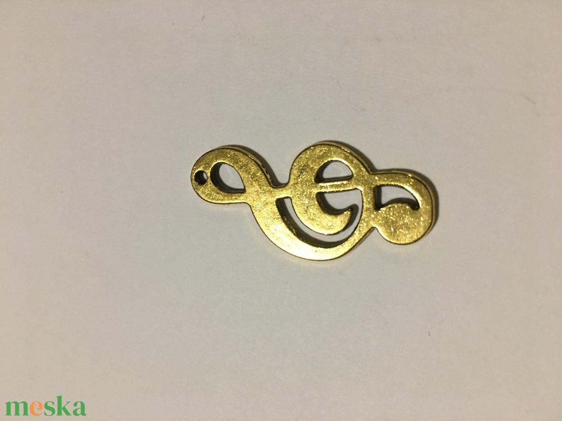10 db Tibeti arany színű violinkulcs medál - gyöngy, ékszerkellék - egyéb alkatrész - Meska.hu