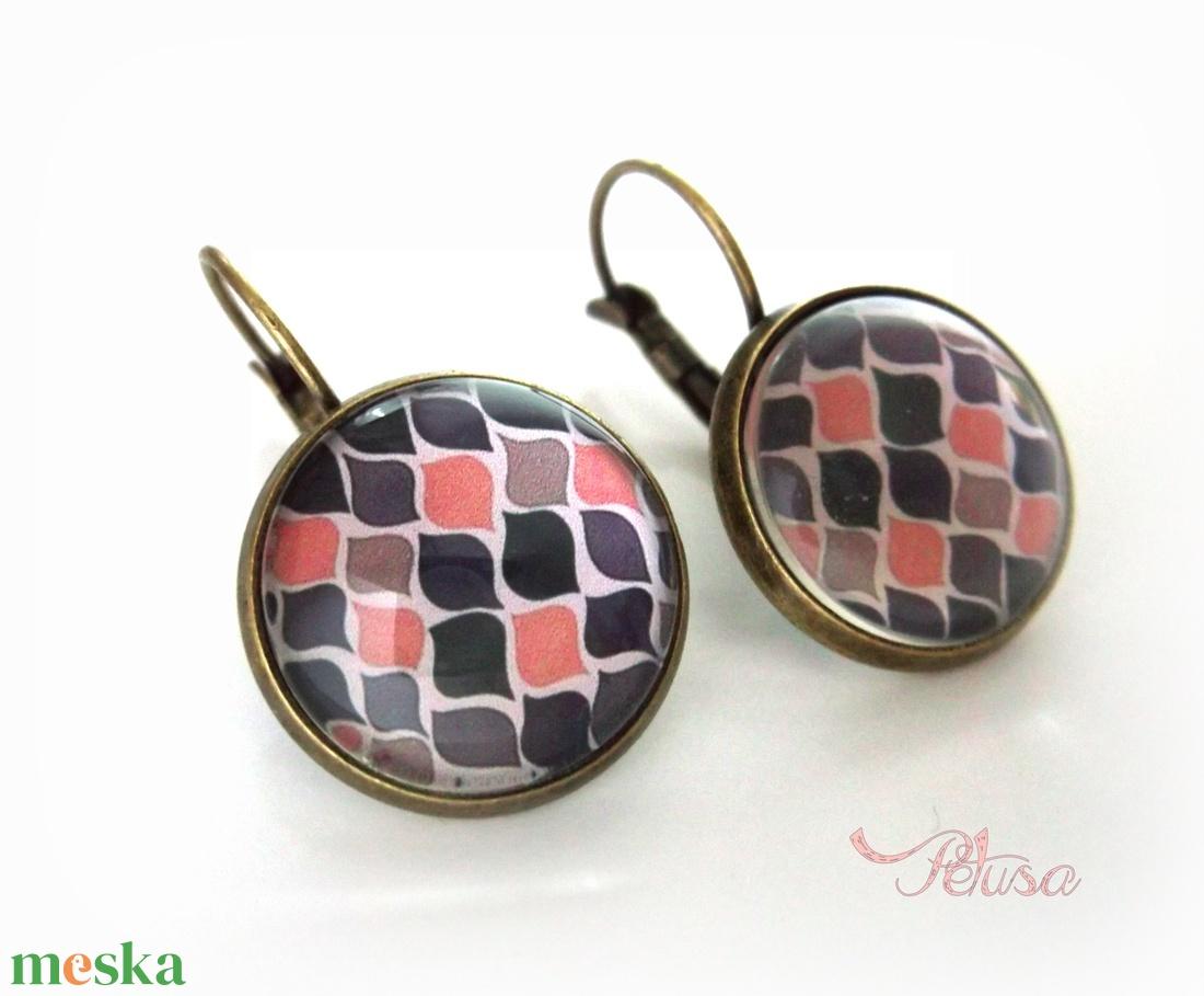 Rózsaszín szürke mintás nyaklánc fülbevaló szett nyári üveglencsés modern - ékszer - ékszerszett - Meska.hu