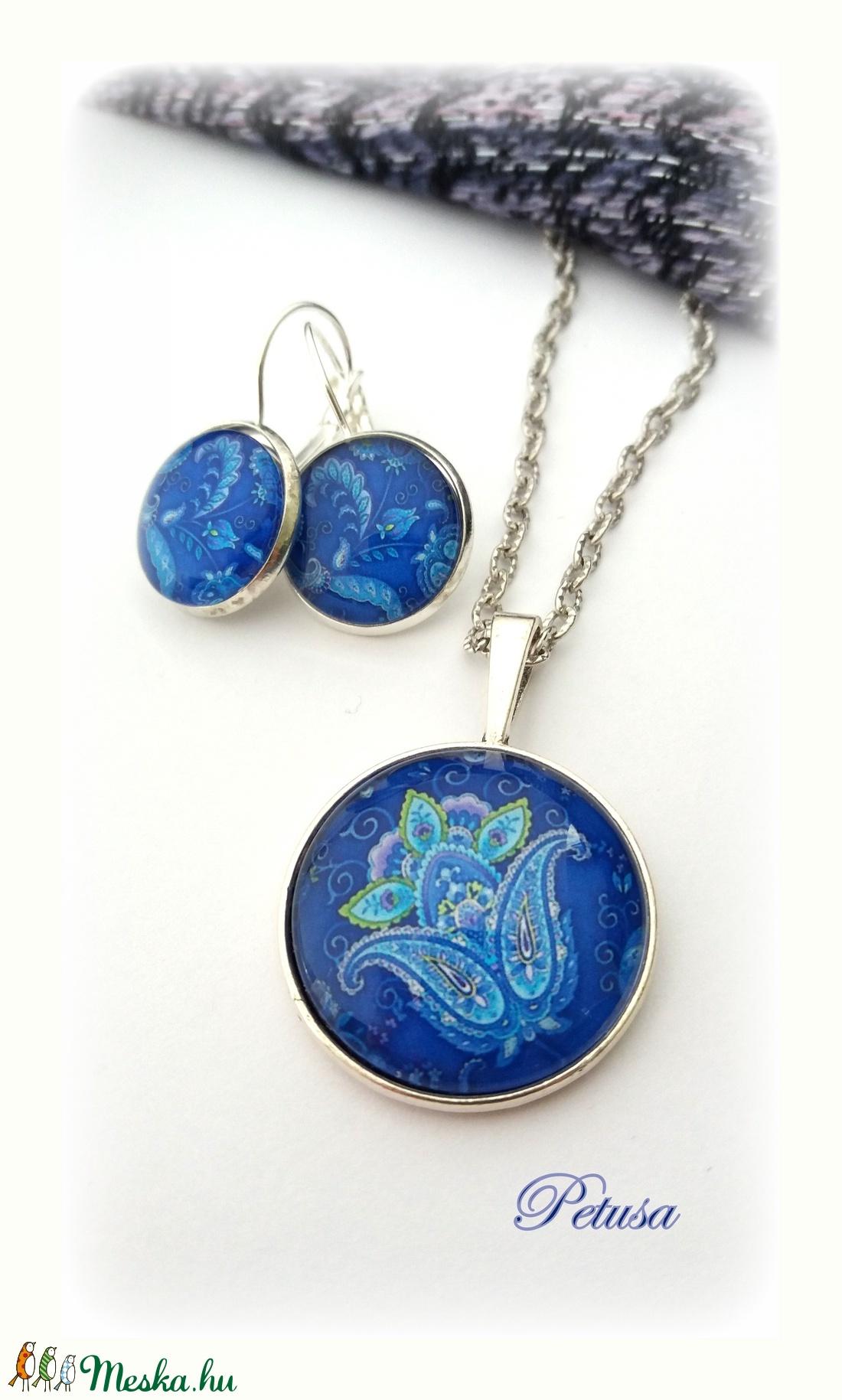 641b06f2b9 Kék keleti nyaklánc sötétkék motívum csempe csipke mozaik Marokkó