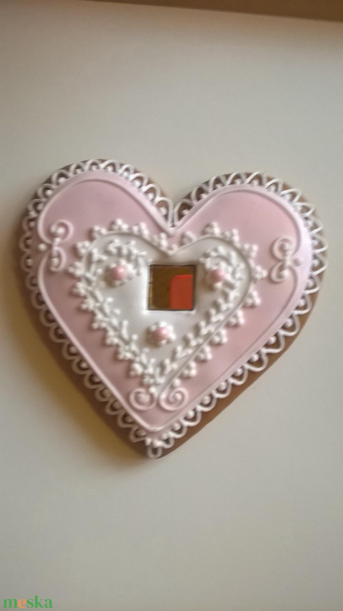 Rózsaszín nagy szív tükörrel - élelmiszer - édesség - Meska.hu