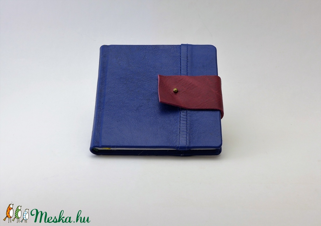 Raul - notesz, napló, emlékkönyv - kék bőr 16x16 cm  - 337 - otthon & lakás - papír írószer - jegyzetfüzet & napló - Meska.hu