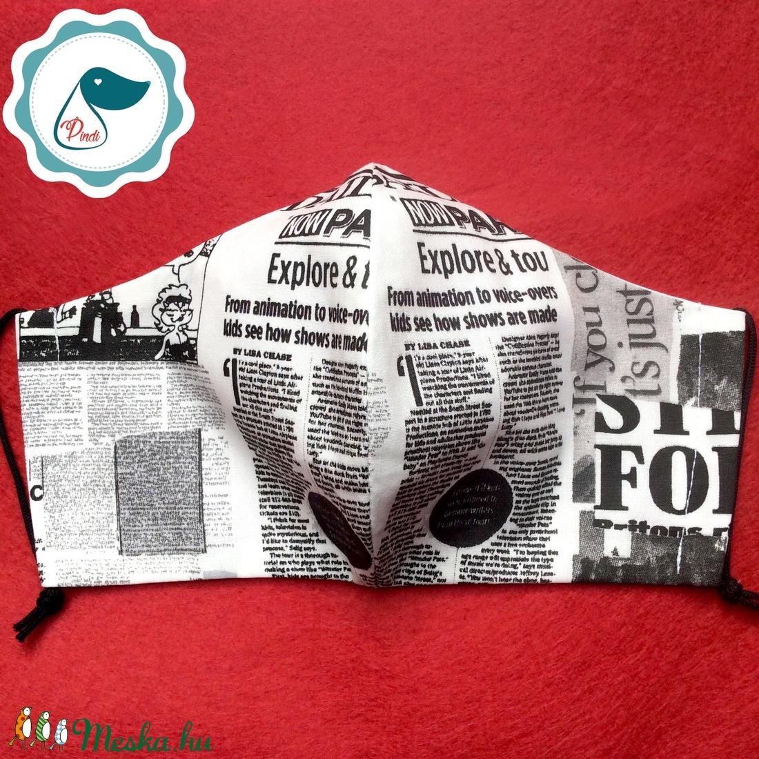 Maszk - egyedi újság mintás szájmaszk - férfi  szájmaszk - textil szájmaszk - egészségügyi szájmaszk - maszk, arcmaszk - férfi & uniszex - Meska.hu