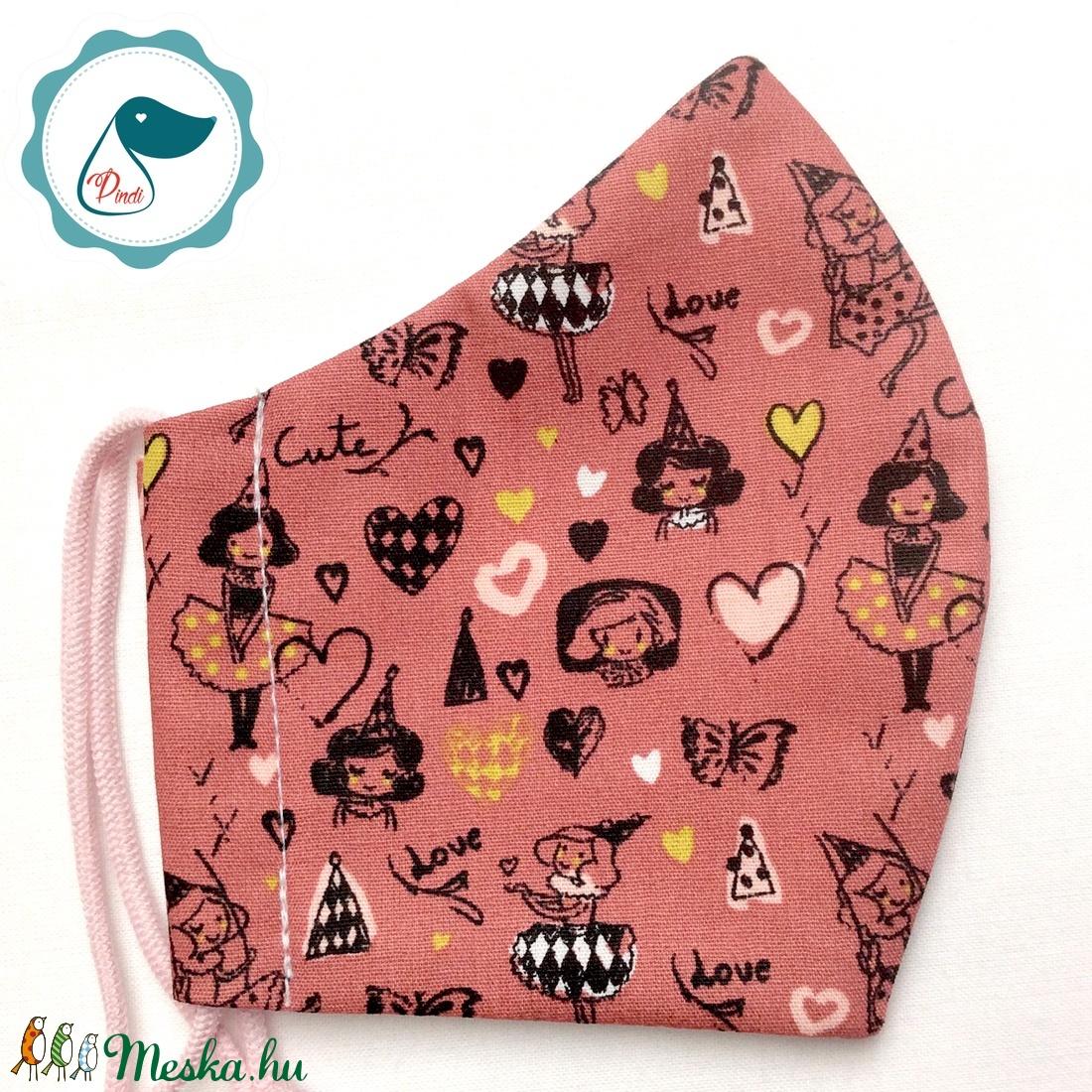 Egyedi mályva kislány mintás maszk -  gyerek arcmaszk - textil szájmaszk - egészségügyi szájmaszk - mosható szájmaszk - maszk, arcmaszk - női - Meska.hu