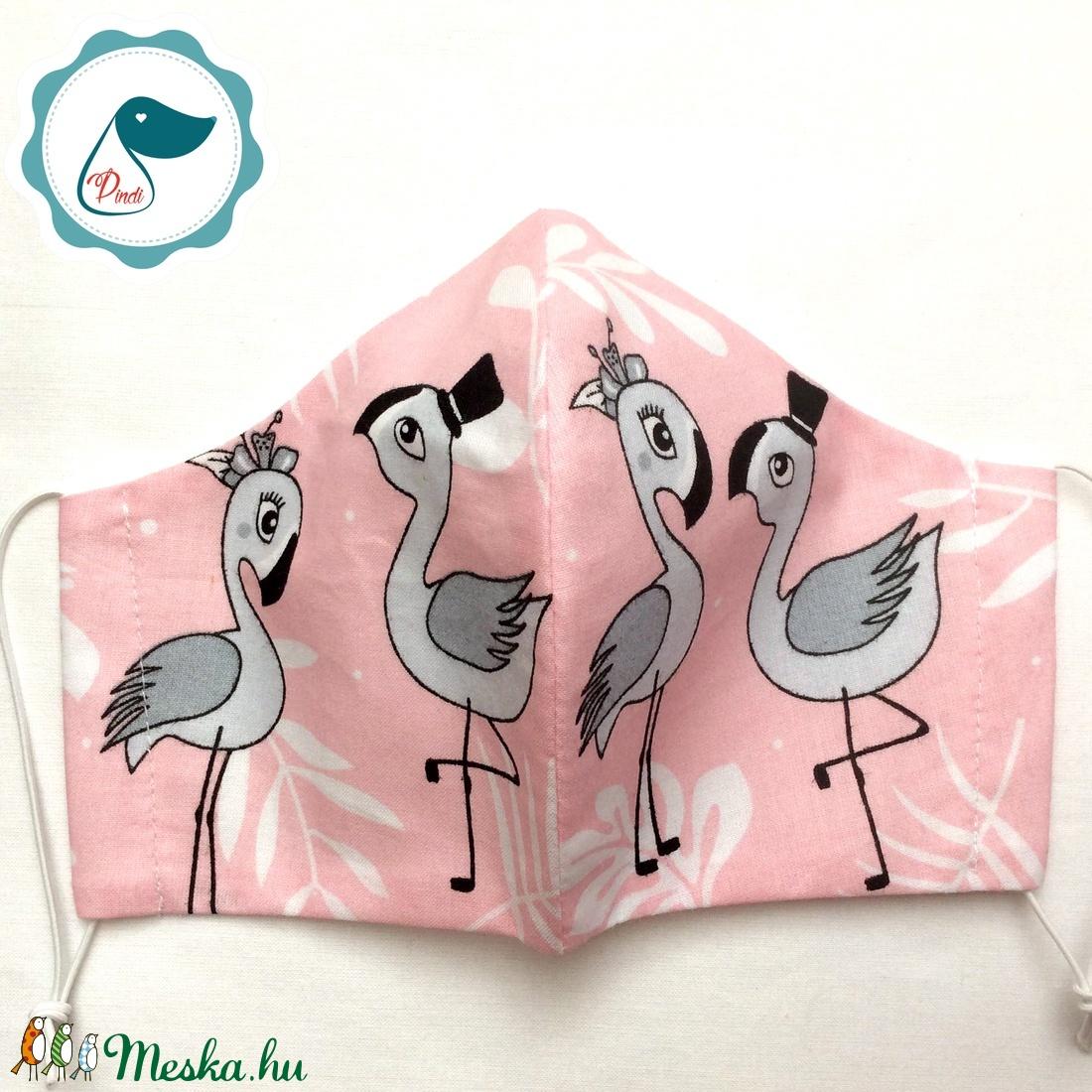 Egyedi  flamingó mintás női és teenager szájmaszk - textil szájmaszk - egészségügyi szájmaszk - maszk, arcmaszk - női - Meska.hu