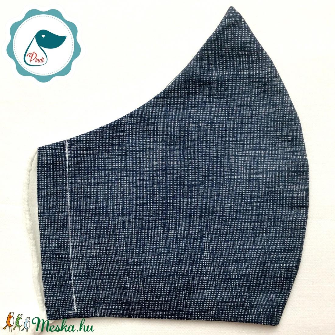 Egyedi kék farmerhatásu pamut női és teenager arcmaszk - textil maszk - egészségügyi szájmaszk (Pindiart) - Meska.hu