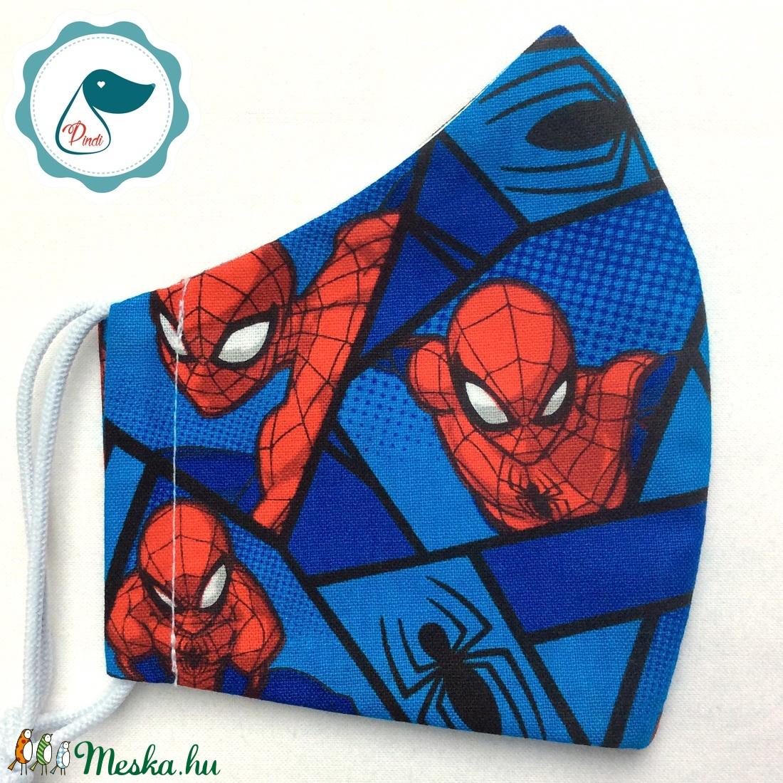 Egyedi pókemberes maszk - gyerek textil arcmaszk - egészségügyi szájmaszk - mosható szájmaszk - maszk, arcmaszk - gyerek - Meska.hu