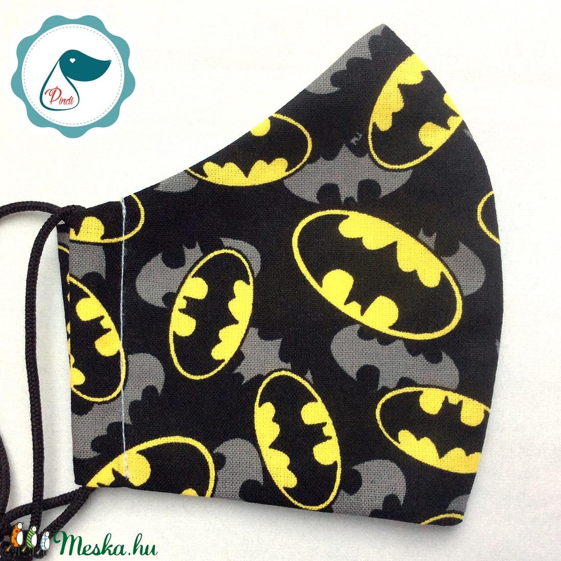 Egyedi batman logo mintás - prémium gyerek  szájmaszk - textil szájmaszk - egészségügyi szájmaszk - mosható szájmaszk - maszk, arcmaszk - gyerek - Meska.hu