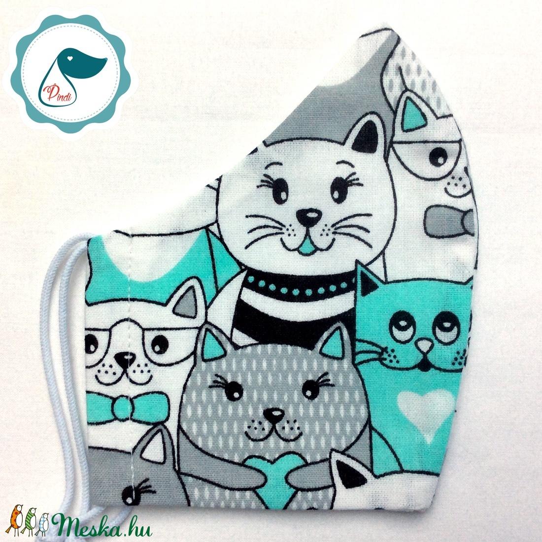 Egyedi cica mintás - felnőtt női és teenager szájmaszk - textil szájmaszk - egészségügyi szájmaszk - maszk, arcmaszk - női - Meska.hu