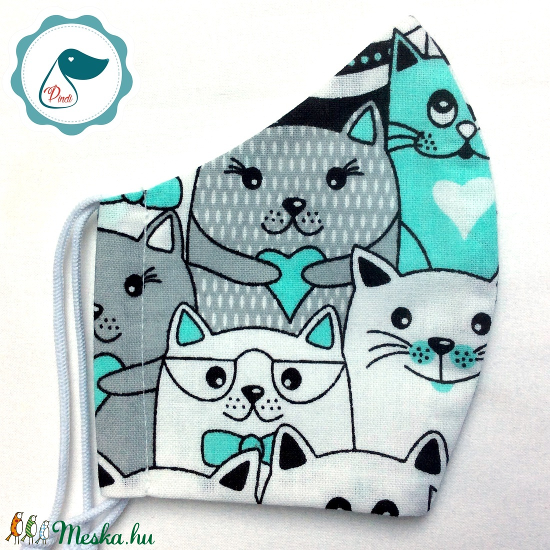 Egyedi cica mintás - kiskamasz szájmaszk - textil szájmaszk - egészségügyi szájmaszk - mosható szájmaszk - maszk, arcmaszk - gyerek - Meska.hu