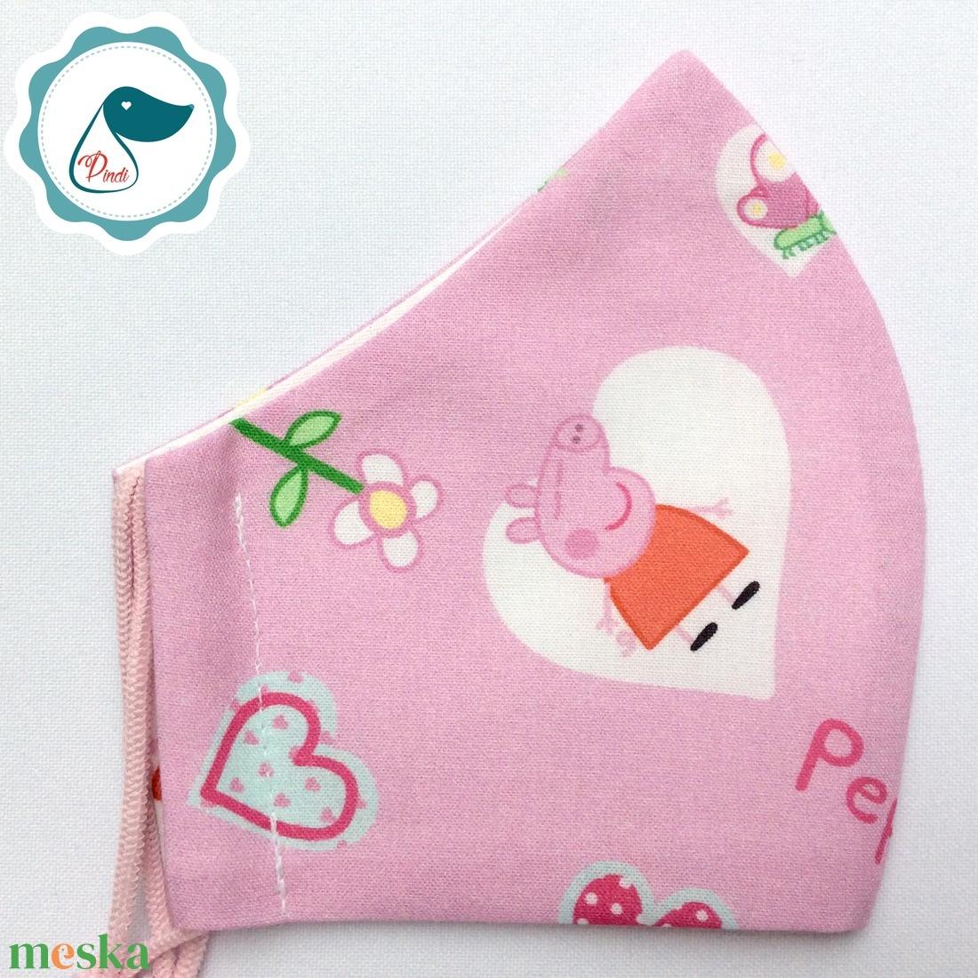 Egyedi peppa malac maszk- gyerek arcmaszk - textil szájmaszk - egészségügyi szájmaszk - mosható szájmaszk - maszk, arcmaszk - gyerek - Meska.hu