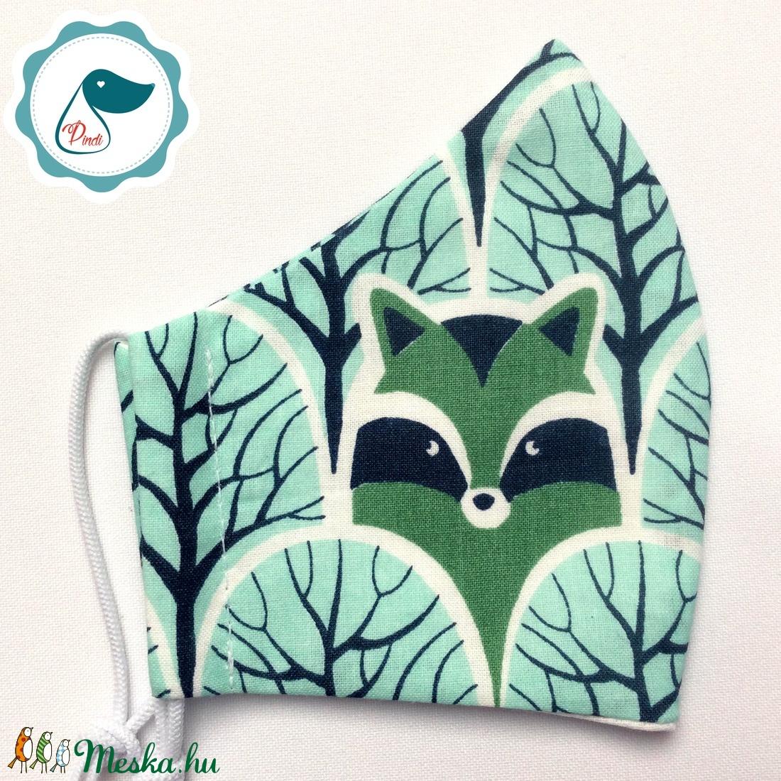 Egyedi mosómedve az erdőben maszk- gyerek  arcmaszk - textil szájmaszk - egészségügyi szájmaszk - mosható szájmaszk - maszk, arcmaszk - gyerek - Meska.hu