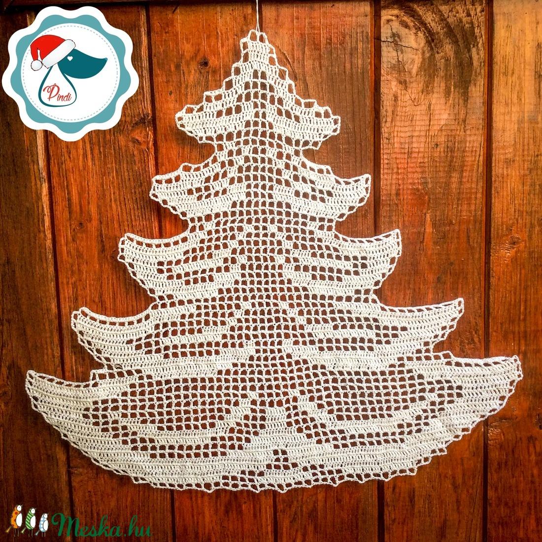 Egyedi nagy horgolt sík fenyő forma - Karácsonyi ablak dísz - karácsonyi dekorácíó- karácsonyi ajándék  (Pindiart) - Meska.hu
