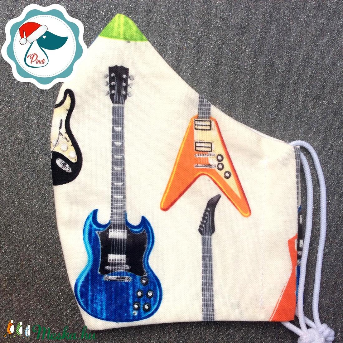 Egyedi gitáros maszk - felnőtt női és teenager arcmaszk - textil szájmaszk - egészségügyi szájmaszk - maszk, arcmaszk - női - Meska.hu