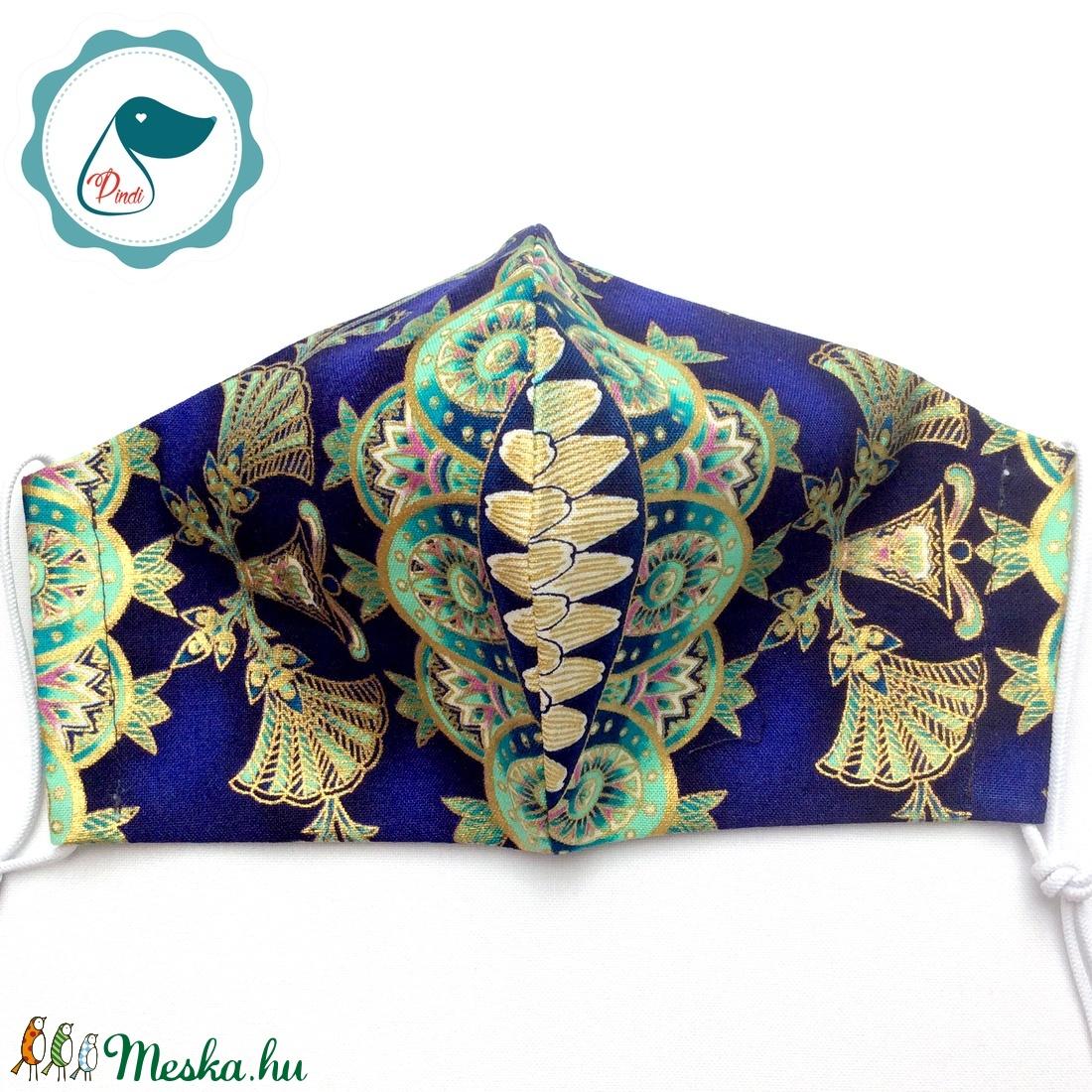 Egyedi exluziv arany,mintás textil -prémium felnőtt női és teenager arcmaszk - keleti motívumok - egészségügyi szájmaszk - maszk, arcmaszk - női - Meska.hu