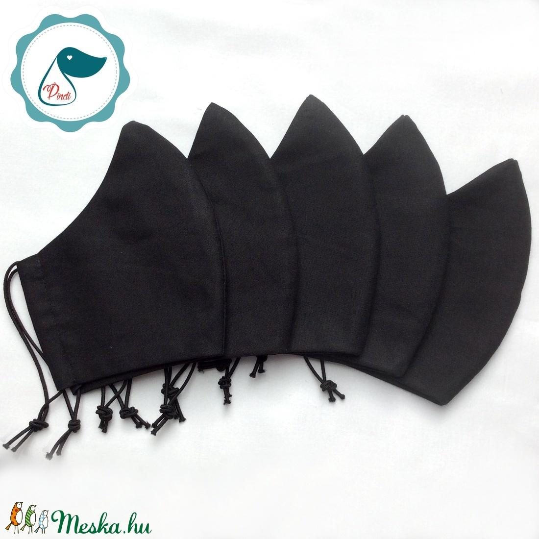 5 db fekete maszk - felnőtt női és teenager szájmaszk - textil szájmaszk - egészségügyi szájmaszk - maszk, arcmaszk - női - Meska.hu