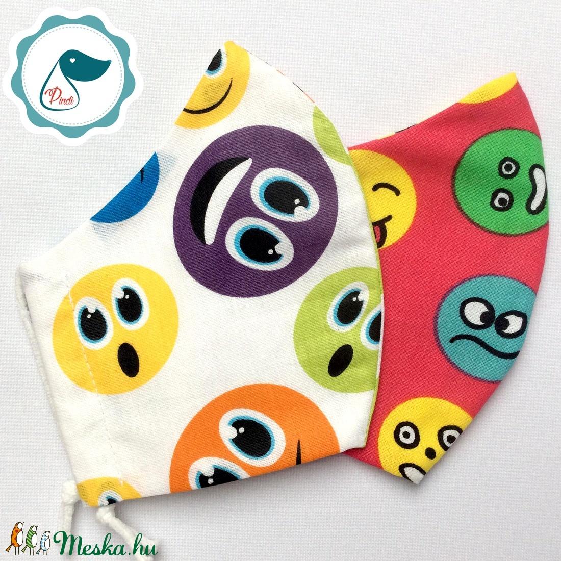 2 db smile mintás maszk - kiskamasz arcmaszk - textil szájmaszk - egészségügyi szájmaszk - mosható szájmaszk - maszk, arcmaszk - gyerek - Meska.hu