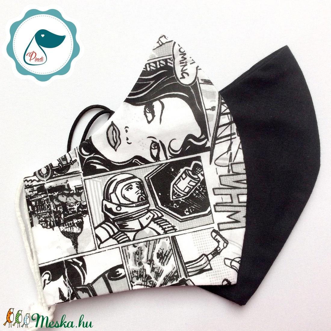 2db fekete,képregényes maszk - férfi maszk - textil szájmaszk - egészségügyi szájmaszk - maszk, arcmaszk - férfi & uniszex - Meska.hu