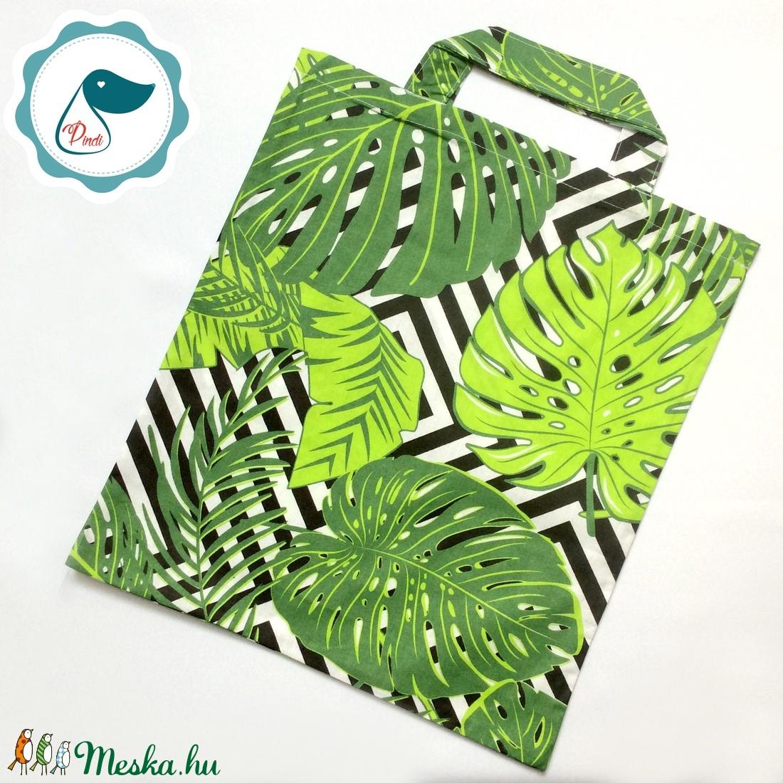 Szatyor - pálmalevél mintás textil táska - bevásárló táska - egyedi bevásárló szatyor - textil szatyor - mosható szatyor - táska & tok - bevásárlás & shopper táska - shopper, textiltáska, szatyor - Meska.hu