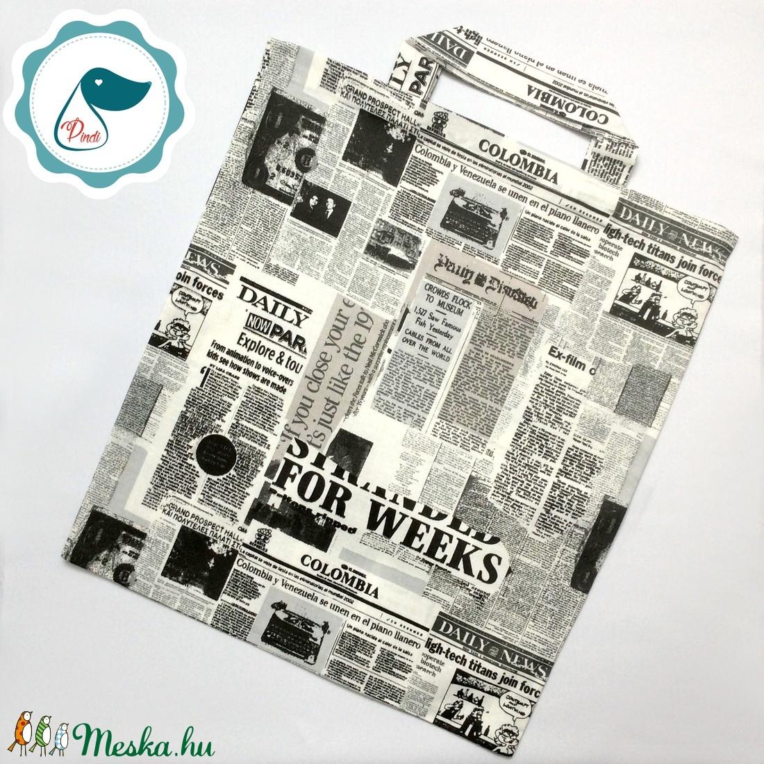 Szatyor - ujság mintás textil táska - bevásárló táska - egyedi bevásárló szatyor - textil szatyor - mosható szatyor - Meska.hu